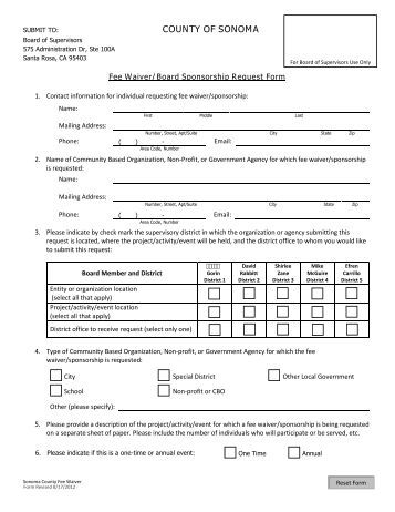 application for waiver of charges