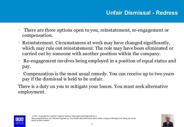 notice of application for unfair dismissal