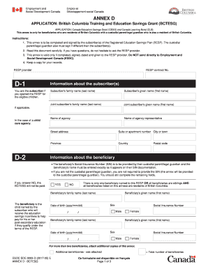 application for british columbia training and education savings grant