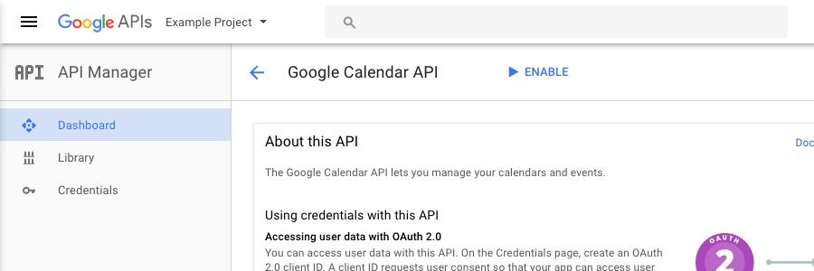 google calendar api web application