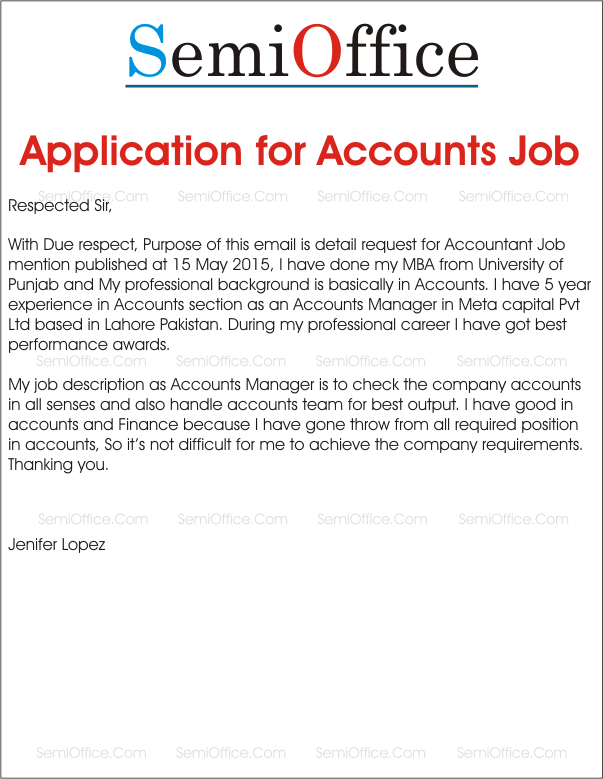 application letter for accounting technology