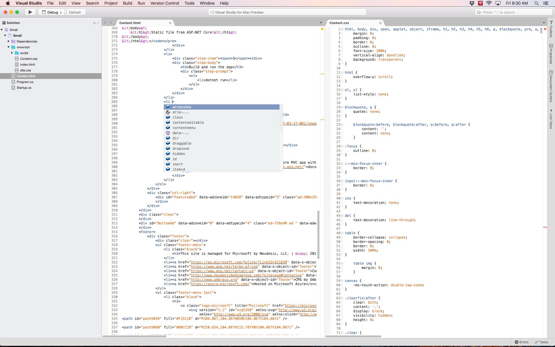 asp.net web application in visual studio 2017 for mac