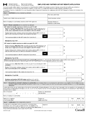 cra employee and partner gst hst rebate application