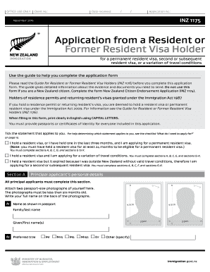filling in perminant residemcy application forms