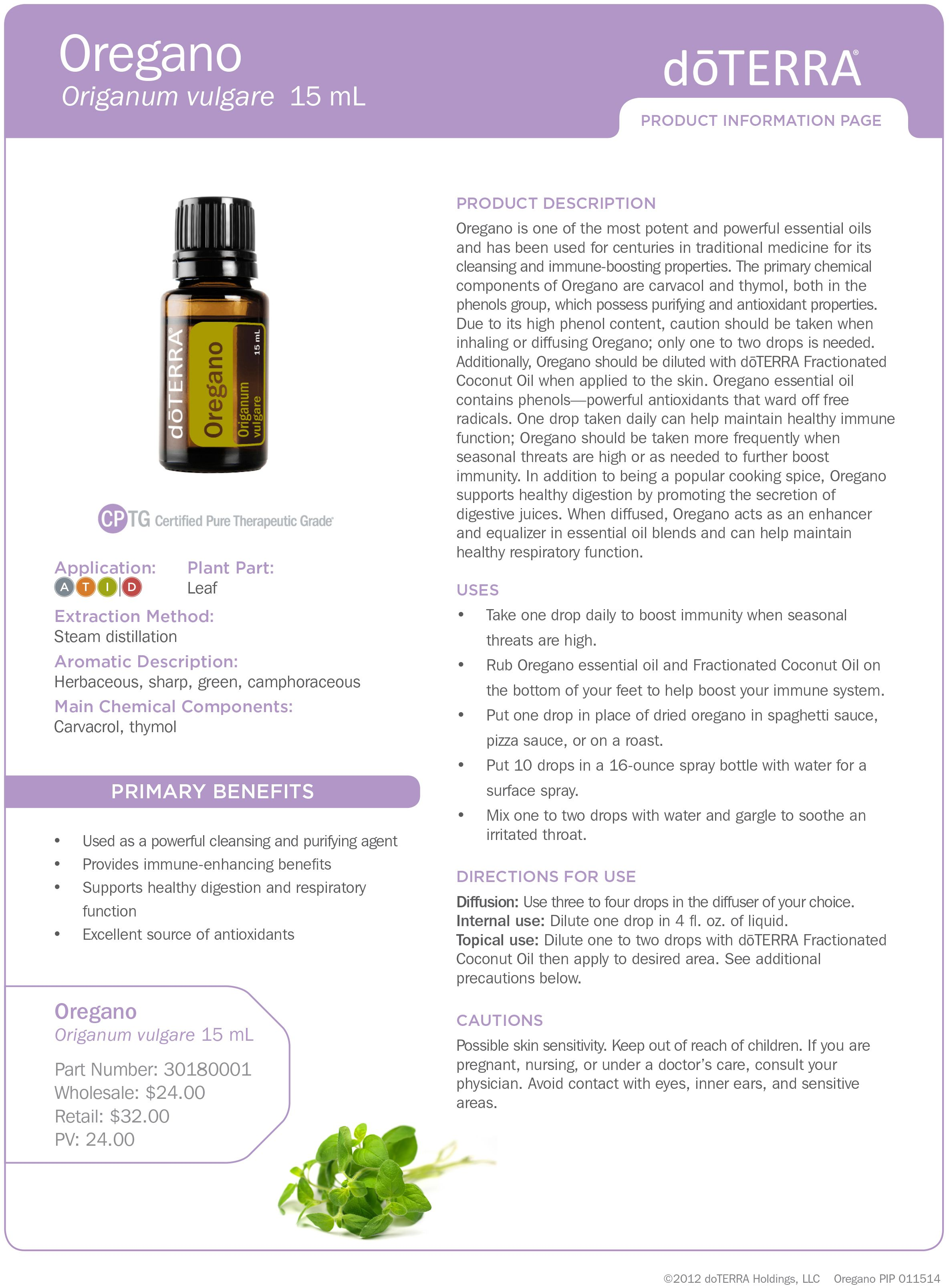 topical application of oil of oregano child