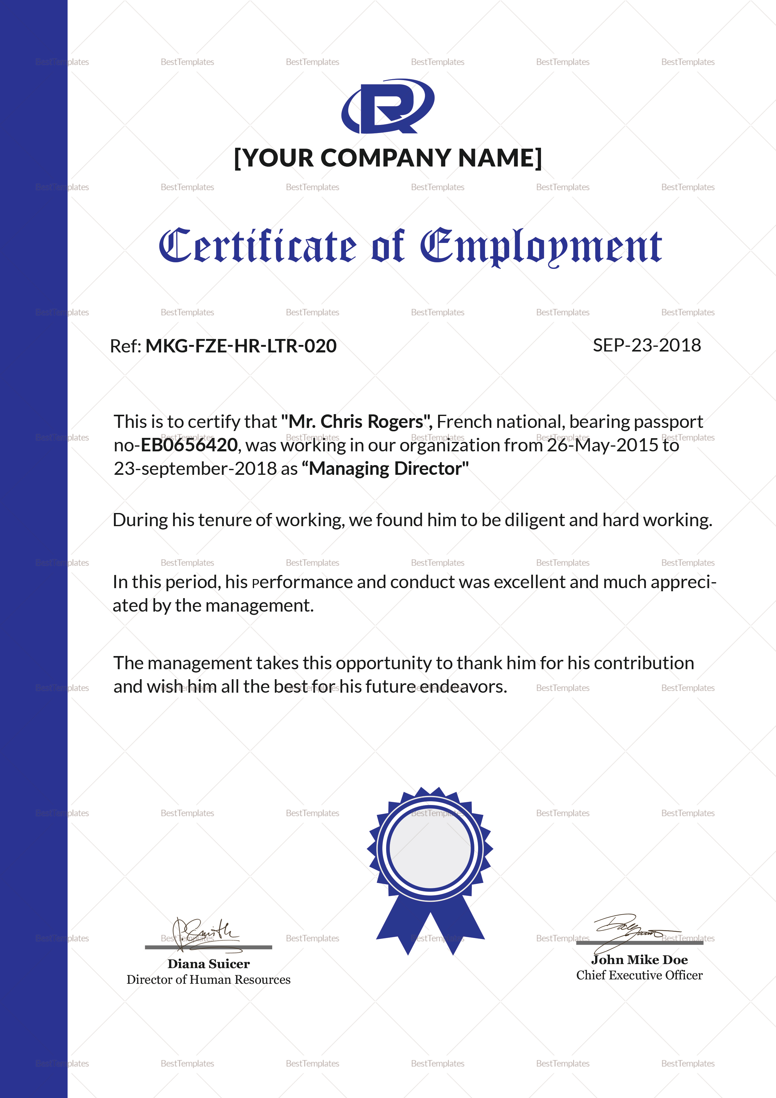 certificate of employment for canada visa application