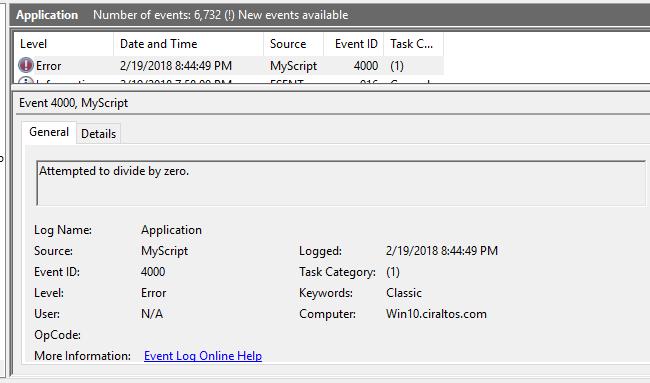 create application event log powershell