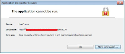 ie error application blocked by security settings