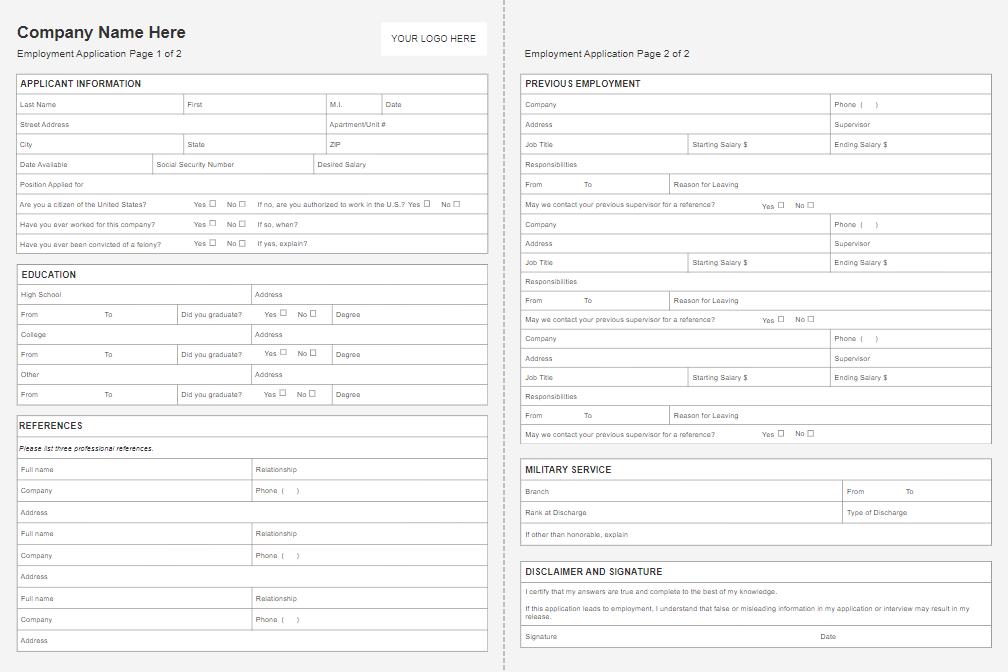 online job application form software