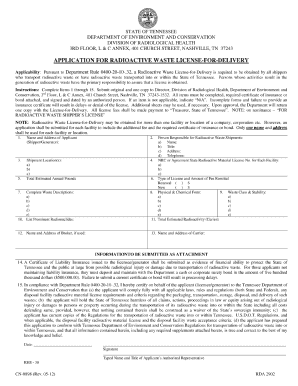 tennessee department of health license application