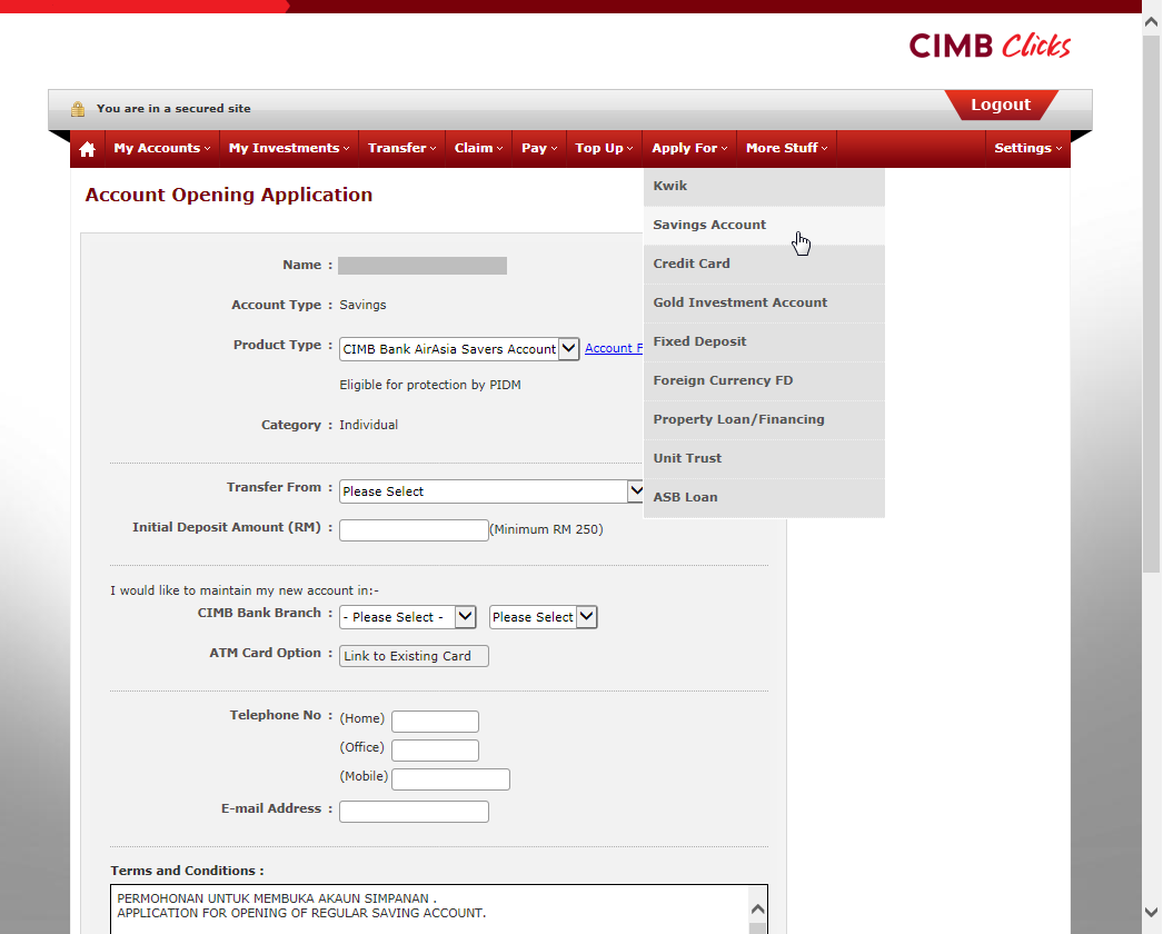 account opening application for bank