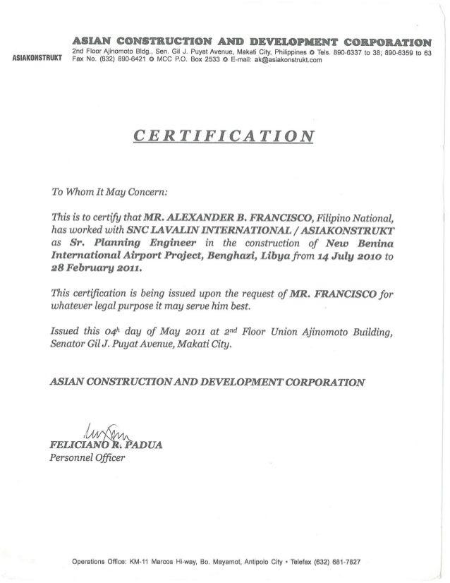 no final certificate job application