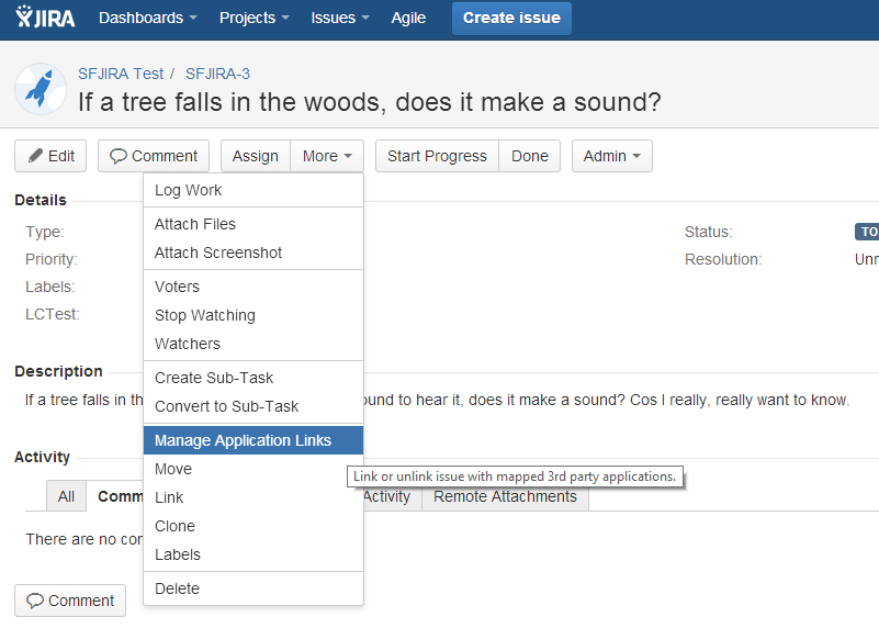 creating application links in jira