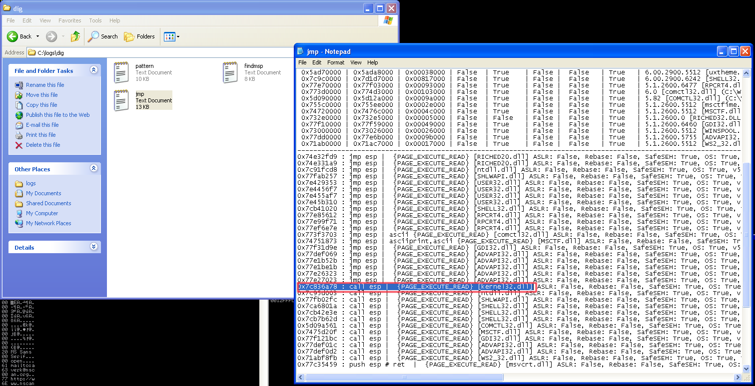 buffer overflow shellcode into separate application