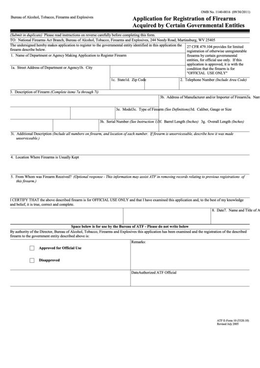 firearms registration application renewal form