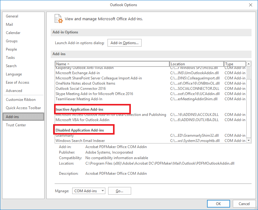 how to enable disabled application add ins in outlook 2010