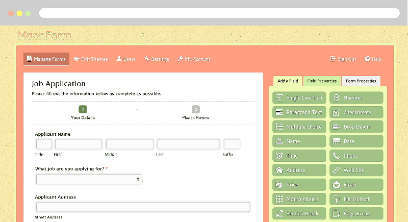html webpage to php application form
