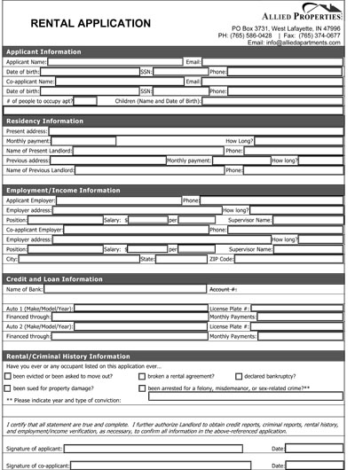 rental application forms bc how to fill in