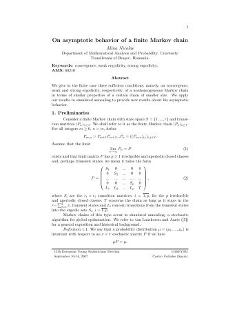 university of ottawa markov chains applications